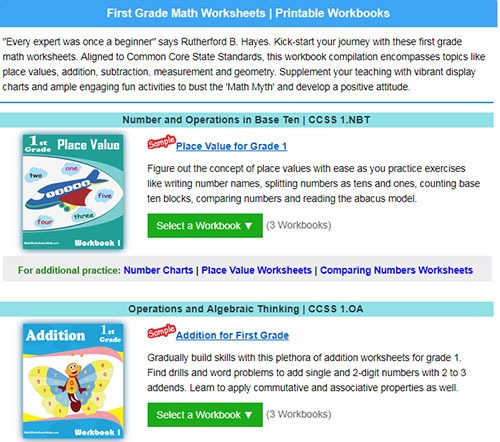 grade one math course book