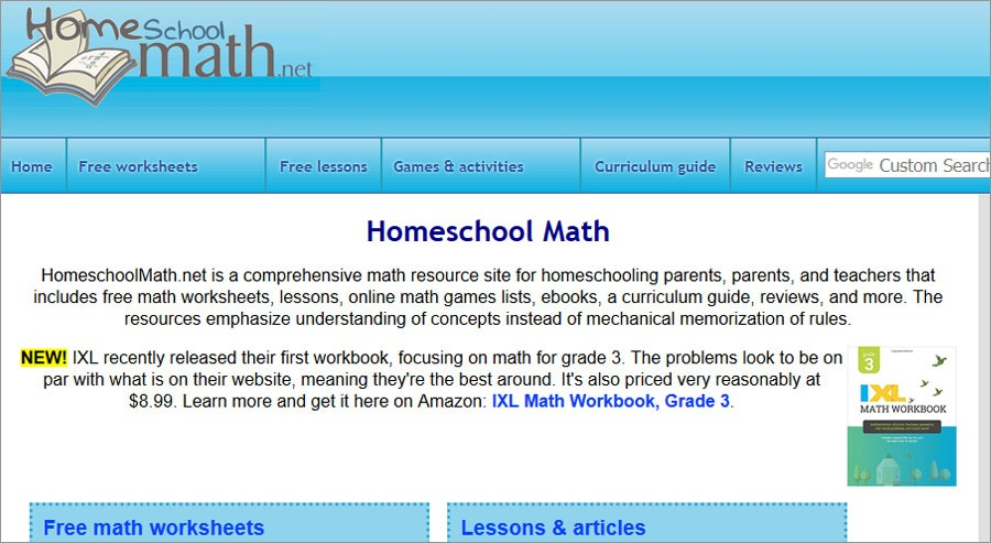 Free Printable Math Wroksheets Homeschoolmath