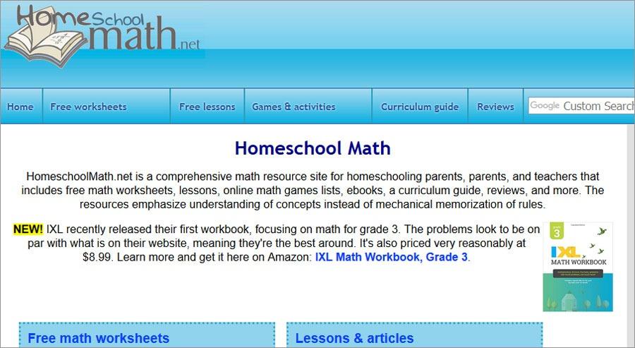 Free Printable Math Wroksheets Homeschoolmath