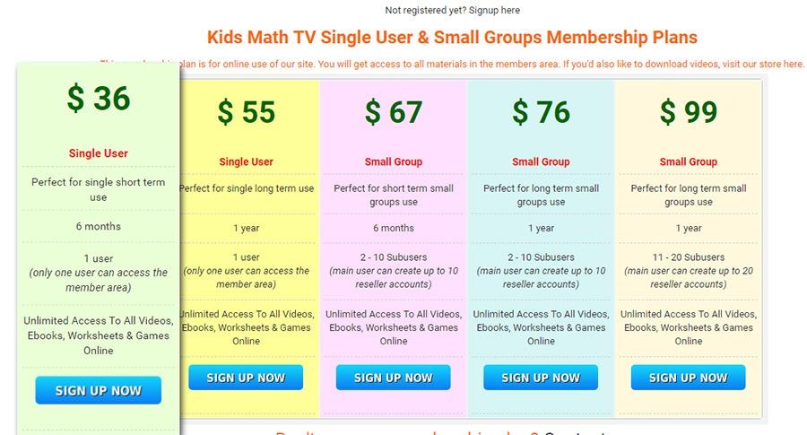 kidmathtv membership fee for addition