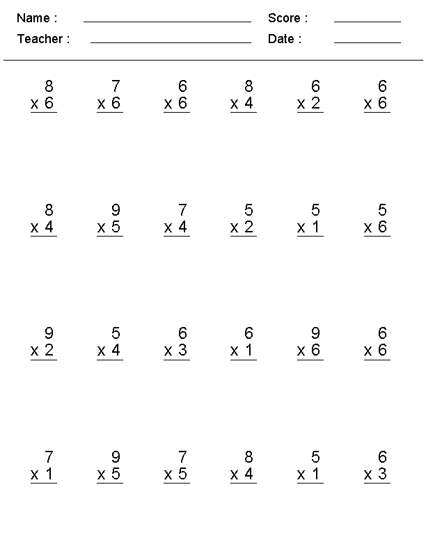 first grade multiplication exercise