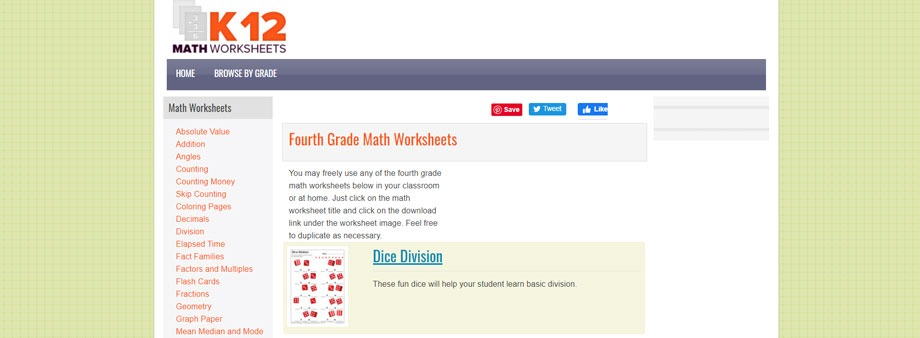 4th grade math worksheets free with k12mathworksheets