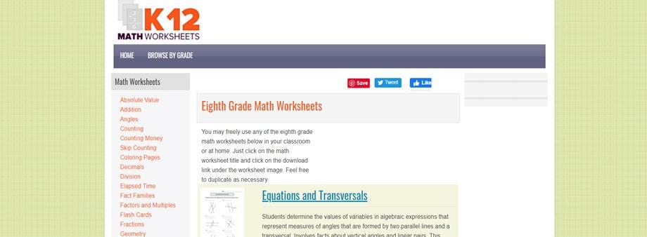 free 8thgrade math worksheets with k12mathworksheets