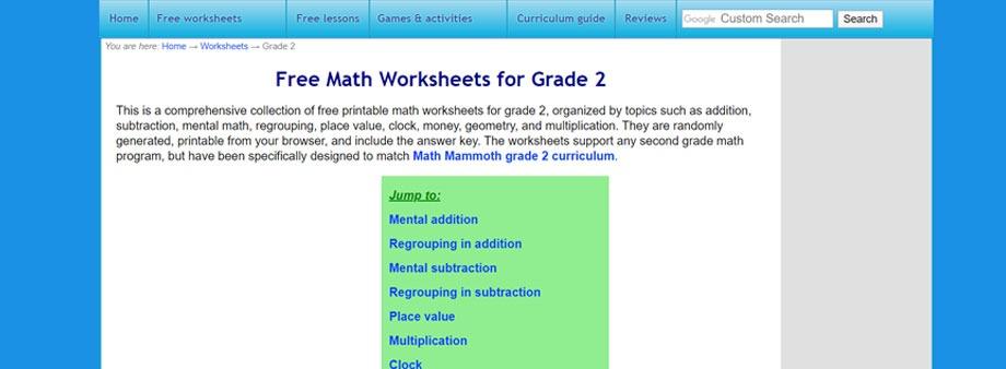 free second grade math worksheets  Homeschoolmath