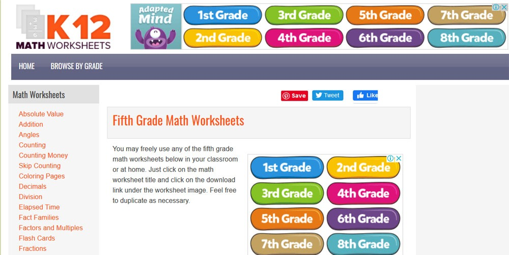 fifth grade math worksheets for free