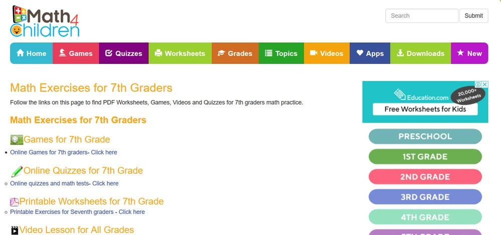 7th grade math worksheets free