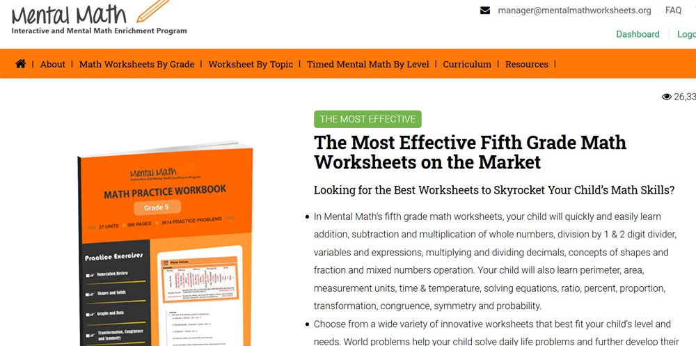 free fifth grade math worksheets