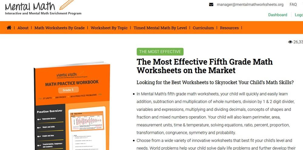 free fifth grade math worksheets